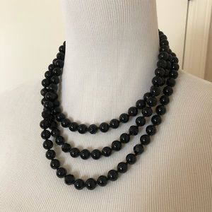 Stella & Dot La Coco Black Faceted Bead Necklace